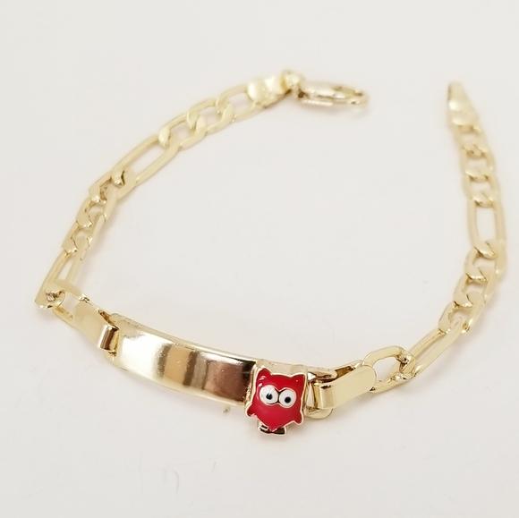 14K Gold Plated Little Girl's ID Bracelet. New